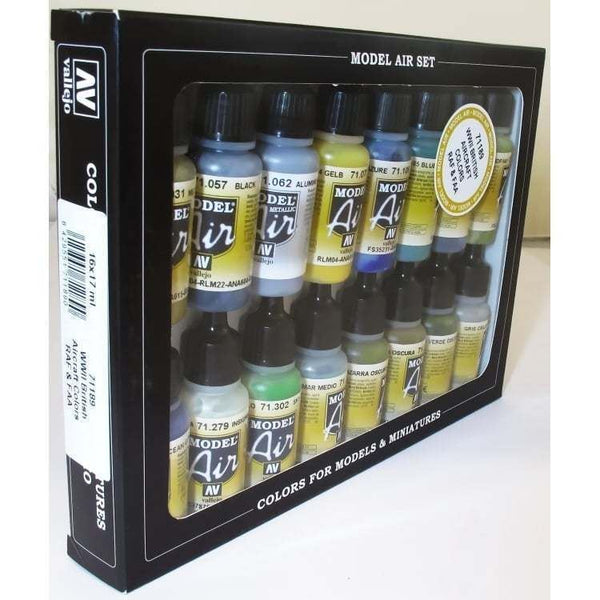 Vallejo 71189 Model Air Set - WWII British RAF/FAA 16 Colour Acrilic Paint Set