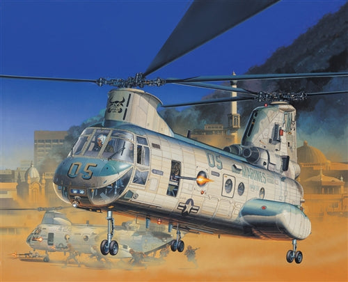 Academy 1:48 12283 CH-46E US Marines Bull Frog Model Aircraft Kit