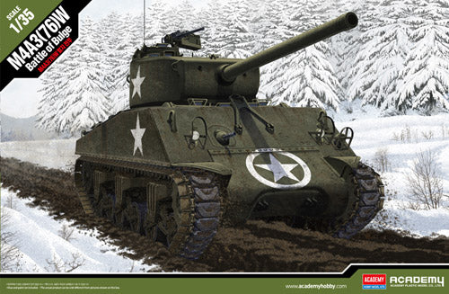 "Academy 1:35 13500 M4A3(76)W ""Battle of the Bulge"" Model Military Kit"
