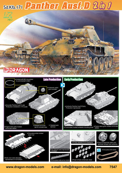 Dragon 1:72 7547 Sd.Kfz.171 Panther Ausf.D (2 in 1) Model Military Kit