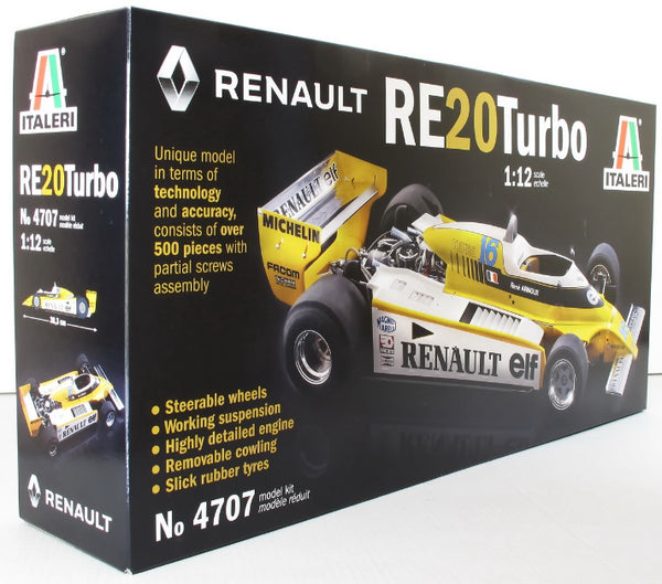 Italeri 1:12 4707 1977 Renault RE20 Turbo F1 Rene Arnoux Model Car Kit