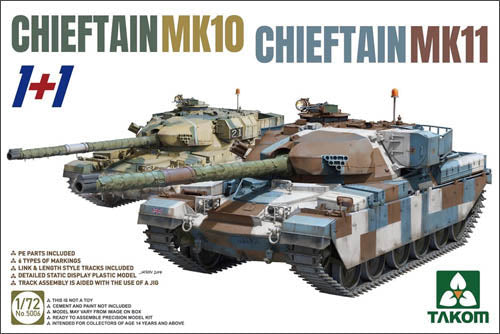 Takom 1:72 05006 Chieftain Mk 10 / Chieftain Mk 11 1+1 Model Military Kit
