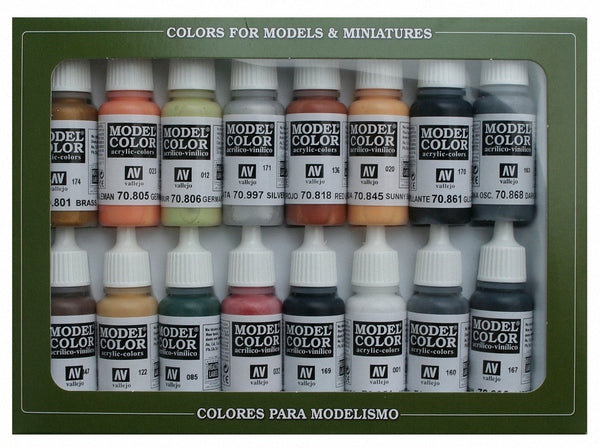 Vallejo 70107 Model Colour Set -Wwii German 16 Colour Acrilic Paint Set