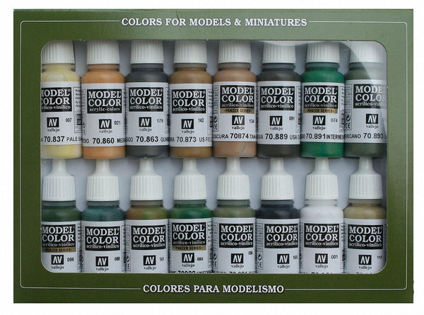 Vallejo 70109 Model Colour Set - WWII Allies 16 Colour Acrilic Paint Set