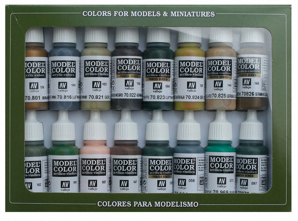 Vallejo 70114 Model Colour Set - German Camouflage 16 Colour Acrilic Paint Set