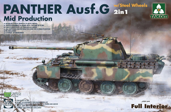 Takom 1:35 02120 Panther Ausf G Mid w/ Steel Wheels 2 in 1 Model Military Kit