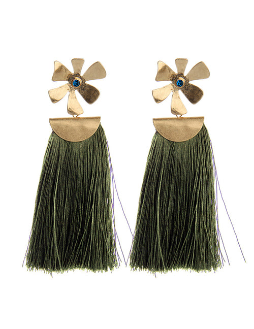 Green Tassel Earring