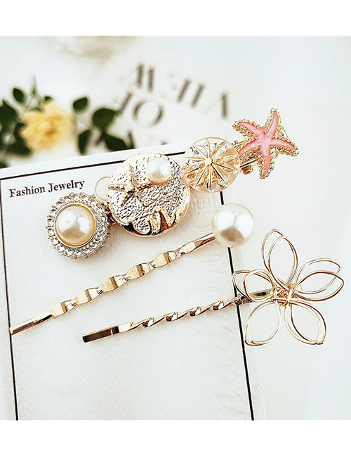Pink & Gold Coral Hair Pins