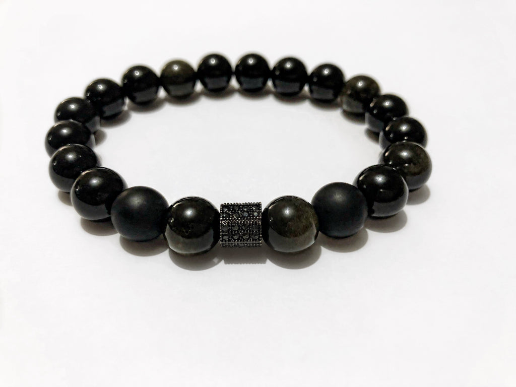Men's Black Obsidian & Gun Metal Beaded Bracelet