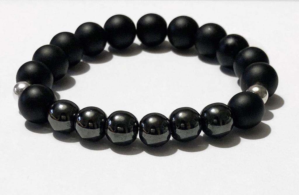 Men's Hematite Silver and Onyx Beaded Bracelet