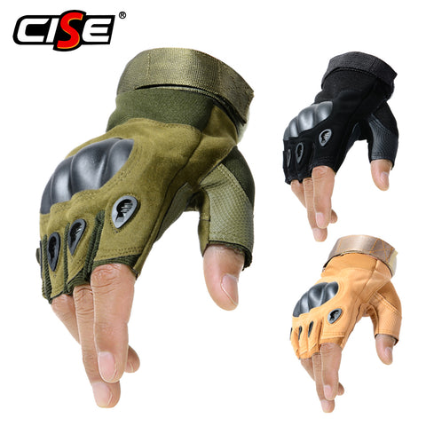 Outdoor Motorcycle Hard Knuckle Fingerless Gloves Motorbike Motocross Military Tactical Hunting Cycling Half Finger Protective