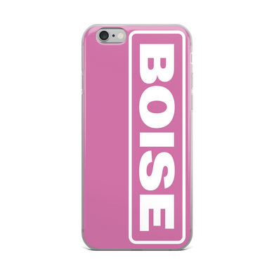 BOISE iPhone Case - White on Pink