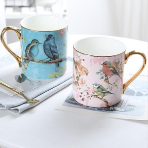 Song Birds 'Enchanted World' Bone China Mug with Golden Spoon