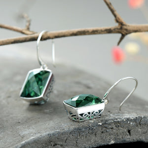 Beautiful Square Cut Green Amethyst Drop Earrings with Silver 925 Filigree Setting