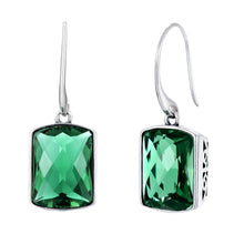 Load image into Gallery viewer, Beautiful Square Cut Green Amethyst Drop Earrings with Silver 925 Filigree Setting