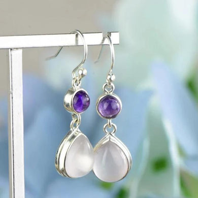 Dangle Earrings in 925 Sterling Silver, Rose Quartz & Stone Water