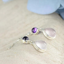 Load image into Gallery viewer, Dangle Earrings in 925 Sterling Silver, Rose Quartz & Stone Water