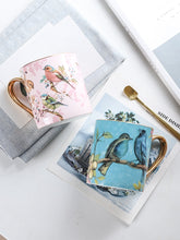 Load image into Gallery viewer, Song Birds 'Enchanted World' Bone China Mug with Golden Spoon