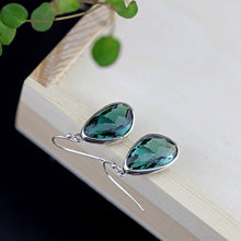 Load image into Gallery viewer, Pure Silver Green Crystal Drop Earrings