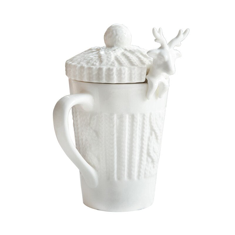It's Winter Deer! - Bone China Hot Beverage Mug with Lid and Spoon