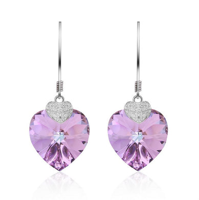 Crystal Swarovski Amethyst Heart Drop Earring with Silver 925 setting