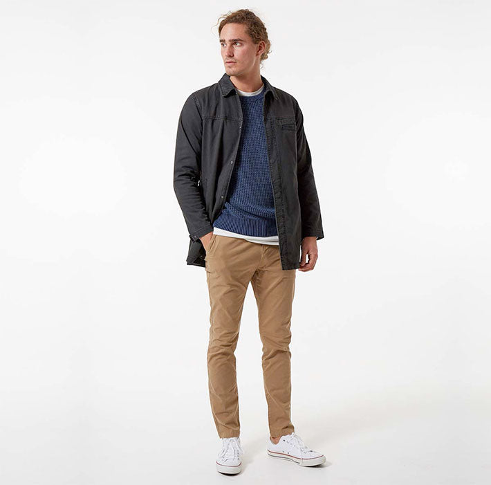 Combine the Smith Jacket with the navy Barnett knit