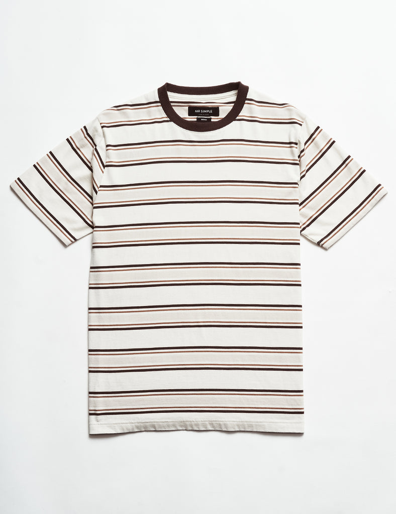 Heavy Weight Stripe Tee - Tobacco Stripe Heavy Weight Stripe Tee - Tobacco Stripe Mr Simple