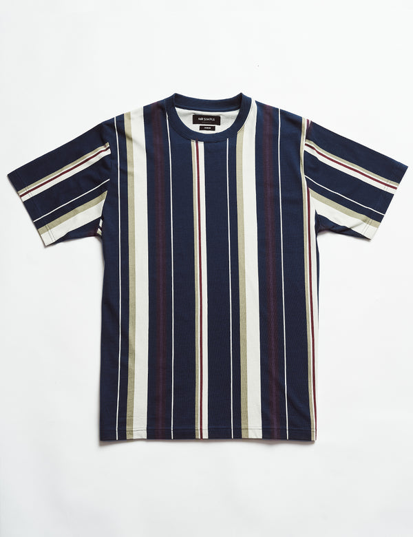 Heavy Weight Stripe Tee - Vertical Navy Stripe