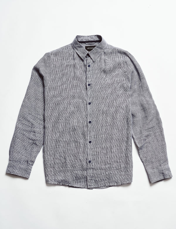 Linen Long Sleeve Shirt - Houndstooth