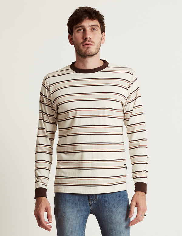 Heavy Weight Longsleeve Tee - Tobacco Stripe