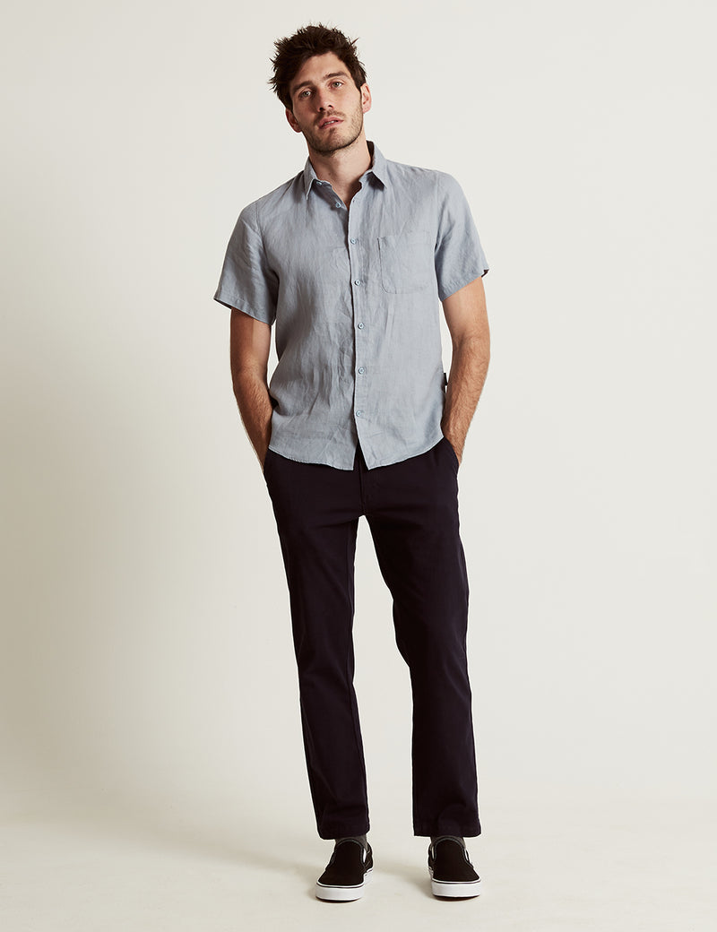 Linen Short Sleeve - Blue Chambray