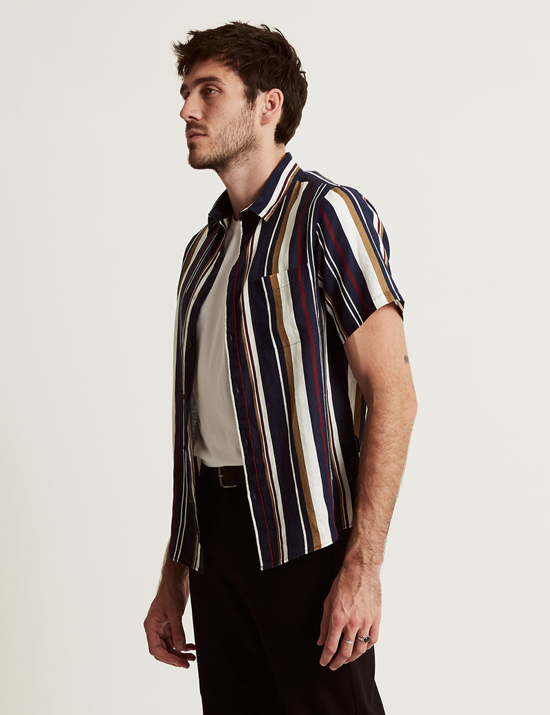 Linen Short Sleeve - Vertical Navy Stripe