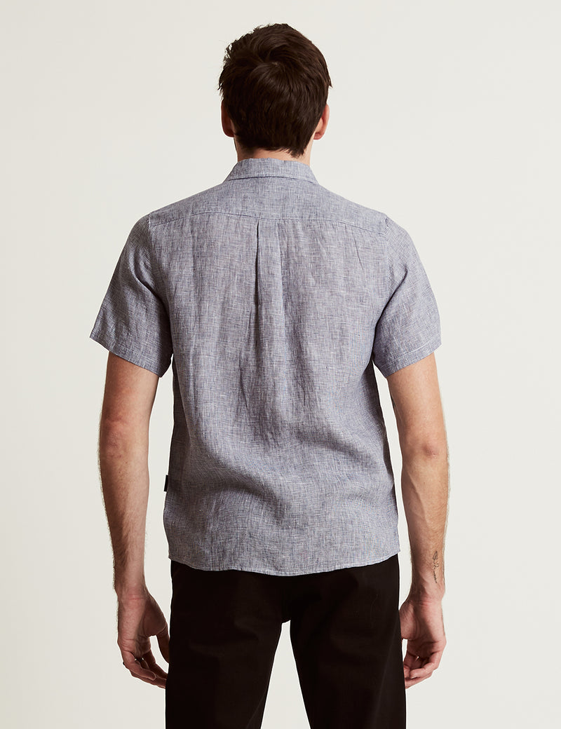 Linen Short Sleeve - Houndstooth