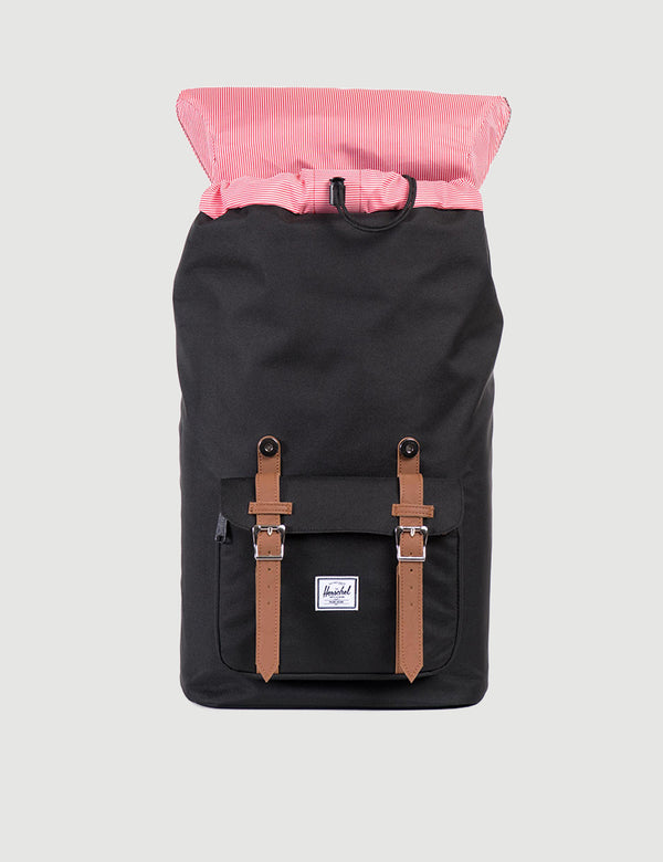 Herschel Little America Backpack - Black/Tan Synthetic Leather