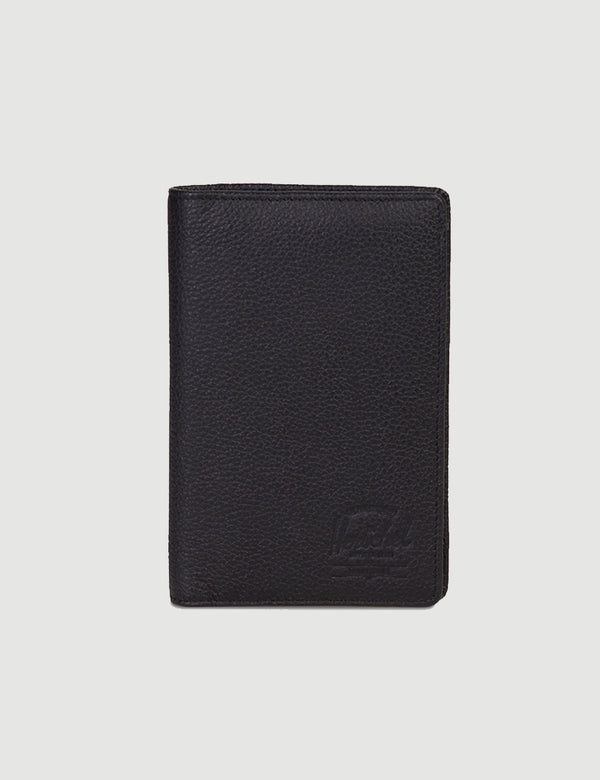 Herschel Search Leather RFID - Black Pebbled Leather