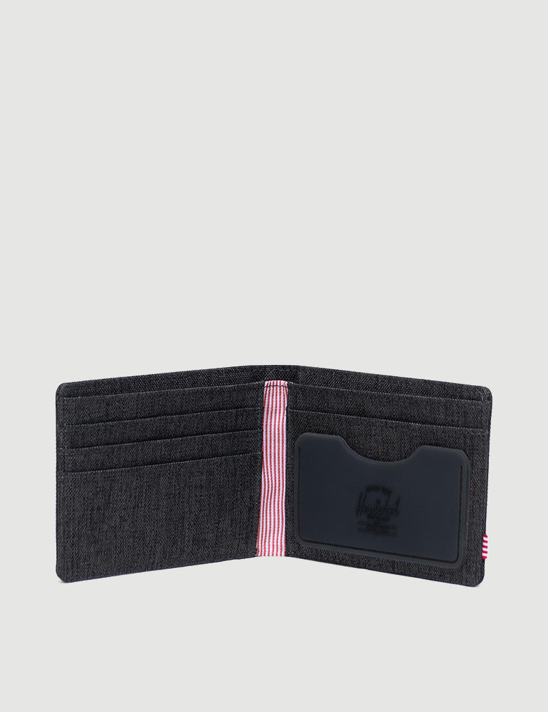 Herschel Roy Rubber RFID Wallet - Black Crosshatch/Black