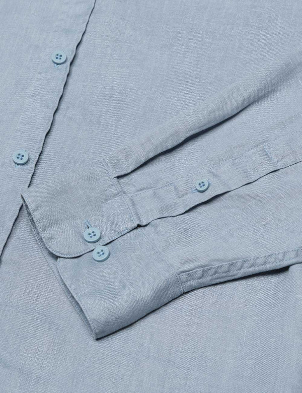 Linen Long Sleeve Shirt - Blue Chambray