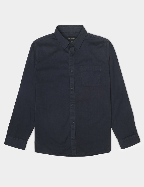 Canvas Long Sleeve Shirt - Navy