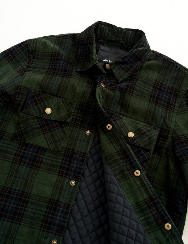 Quilted Cord Jacket - Forest Green Check