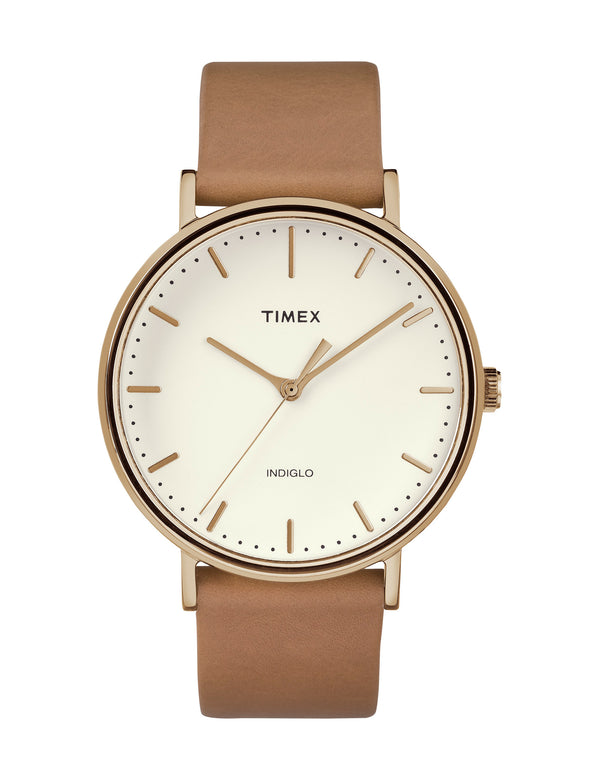 Timex Fairfield 41mm White/Gold/Tan Leather Strap Watch - TW2R26200