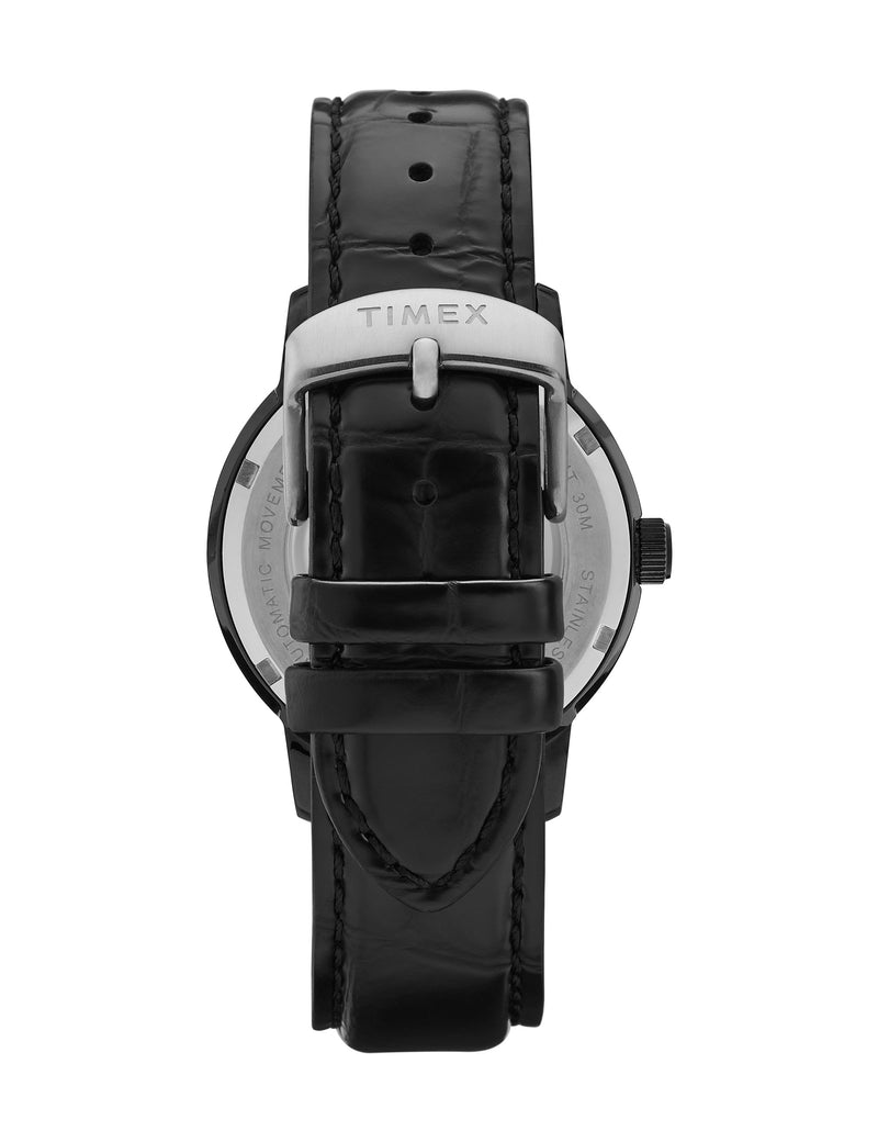 Timex Marlin Automatic 40mm Black Case Black Dial Black Leather Strap