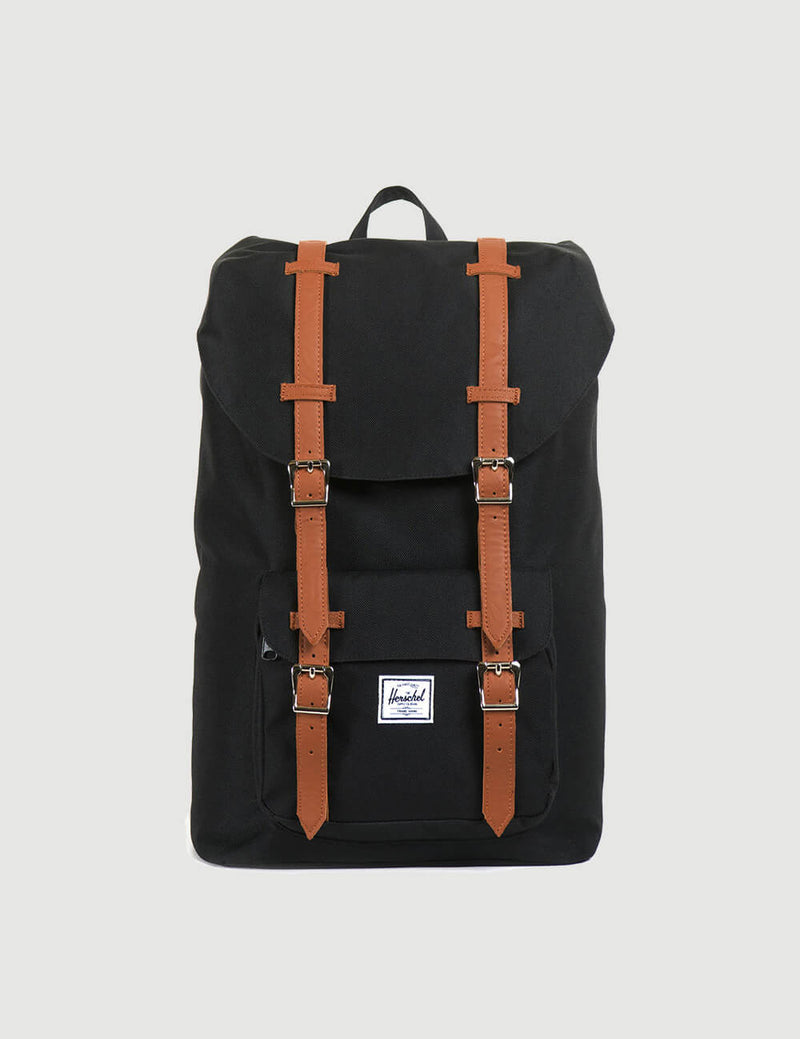 Herschel Little America Mid-Volume Backpack - Black/Tan Synthetic Leather