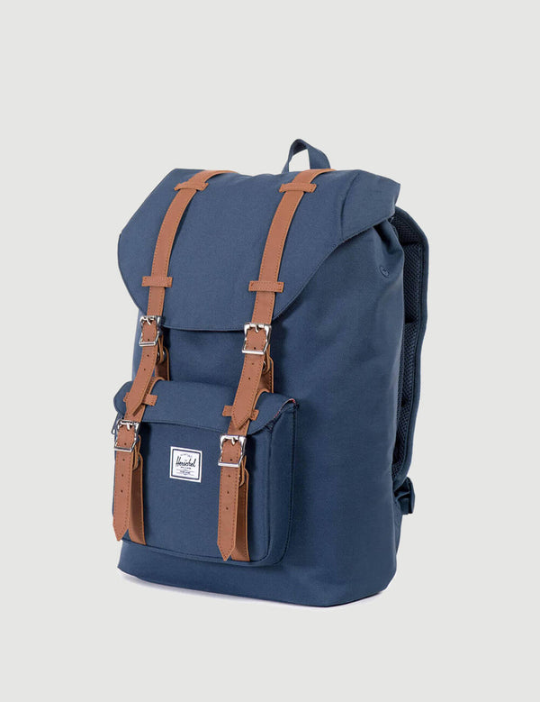Herschel Little America Mid-Volume Backpack - Navy/Tan Synthetic Leather