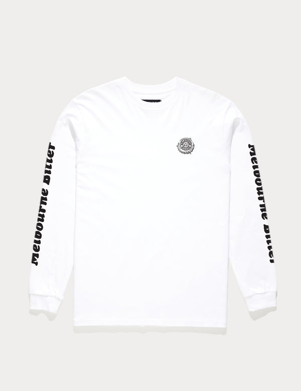 Melbourne Bitter Heavy Weight Crack A Beer Long Sleeve Tee - White
