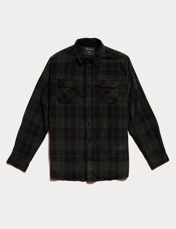 Corduroy Long Sleeve Shirt - Forest Check