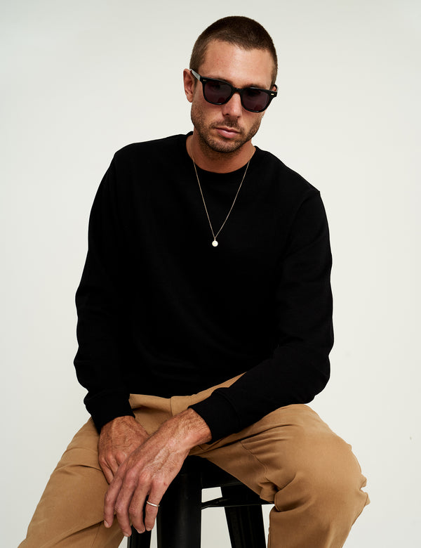 Fair Trade Crew Neck Fleece - Black