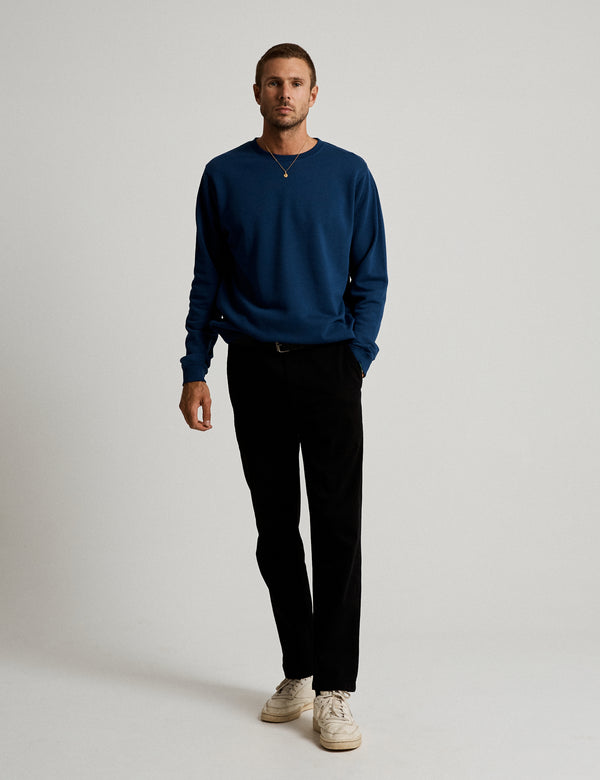 Fair Trade Crew Neck Fleece - Washed Indigo