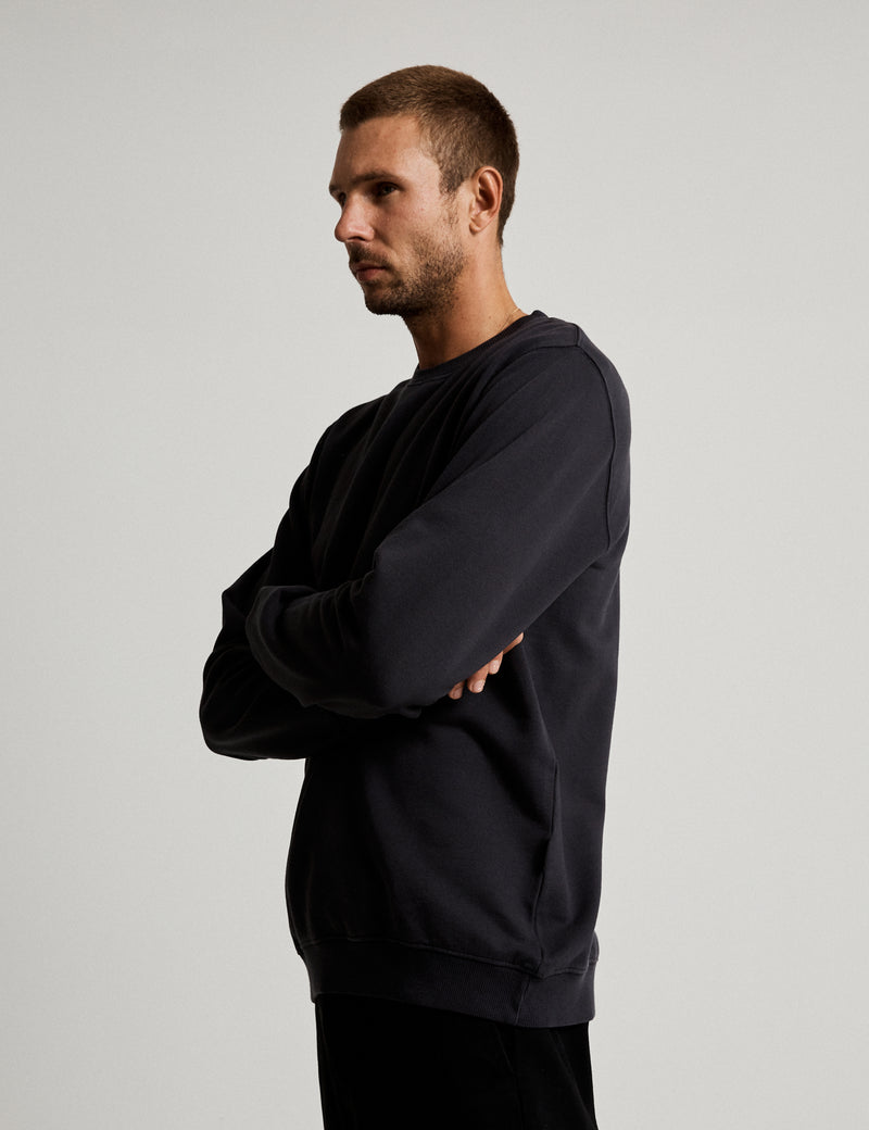 Fair Trade Crew Neck Fleece - Washed Black