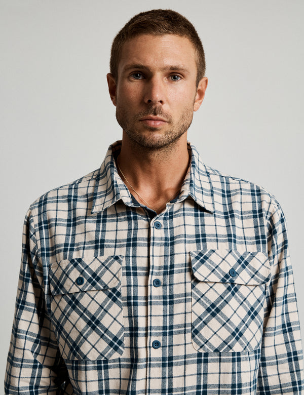 Flannel Long Sleeve Shirt - Natural