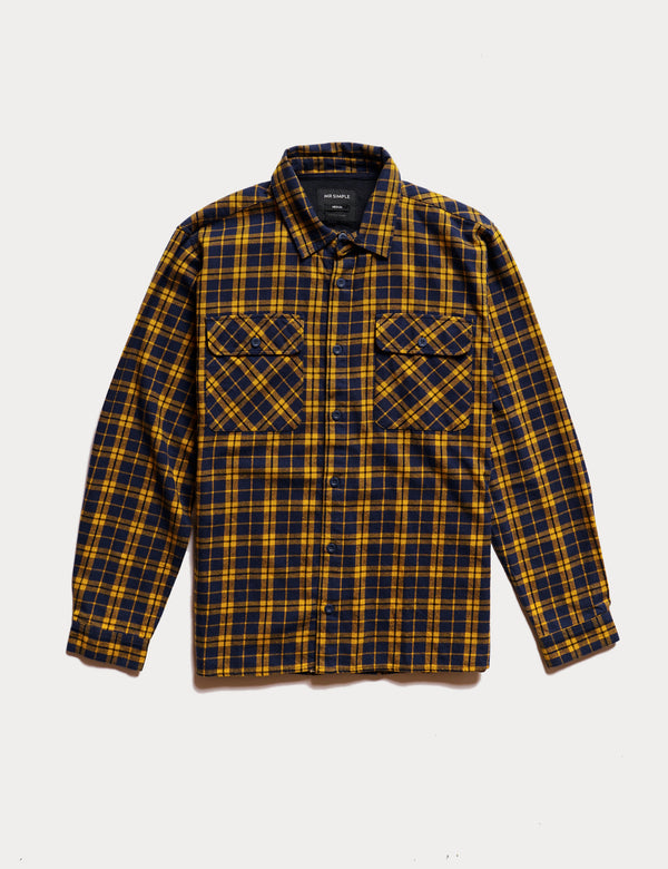 Flannel Long Sleeve Shirt - Mustard